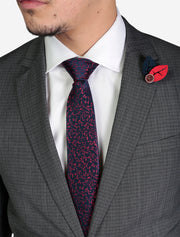 Men's Medium Grey Houndstooth Slim Fit Suit by FUBU - Featuring Notch Lapel