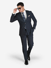 Men's Birdseye Medium Blue Slim Fit Suit