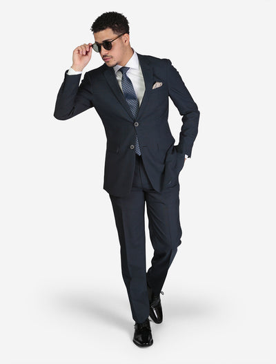 Men's Birdseye Medium Blue Slim Fit Suit - Front View - Model Wearing Glasses