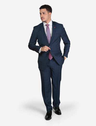Men's Blue Plaid Slim Fit Suit by FUBU - Front View