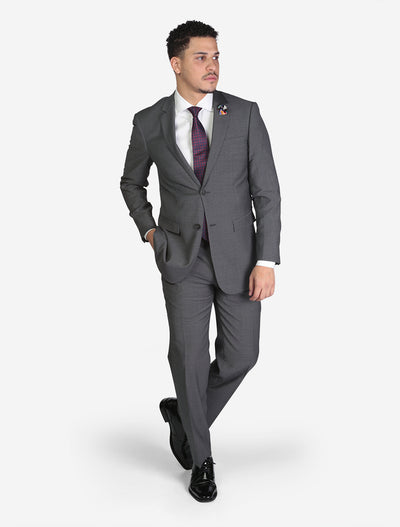 Men's Medium Grey Birds Eye Slim Fit Wool Suit - Front View