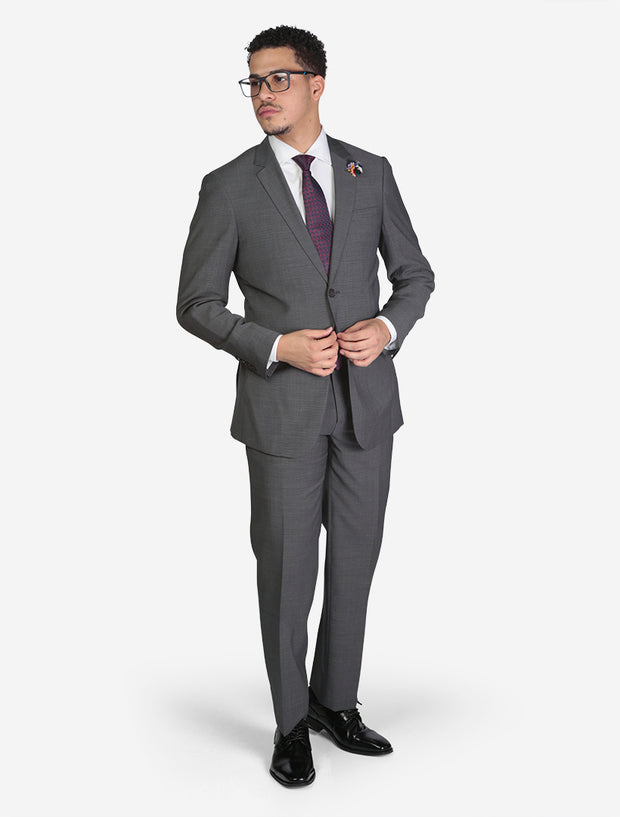 Men's Medium Grey Birds Eye Slim Fit Wool Suit - Front View - Model Wearing Glasses