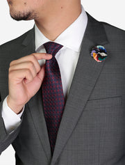 Men's Medium Grey Birds Eye Slim Fit Wool Suit - Featuring Notch Lapel and Tie/Lapel Pin