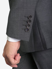 Men's Medium Grey Birds Eye Slim Fit Wool Suit - Featuring 4 Sleeve Buttons
