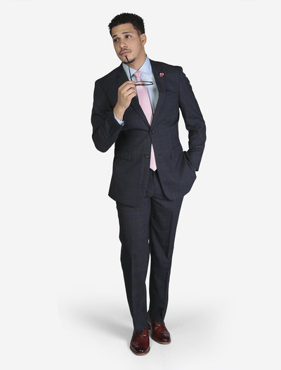 Navy Windowpane Plaid Wool Slim Fit Suit - Front View