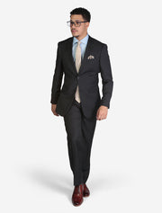 Men's Solid Charcoal Grey Slim Fit Wool Suit - Model Wearing Glasses