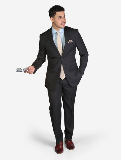 Men's Solid Charcoal Grey Slim Fit Wool Suit - Front View