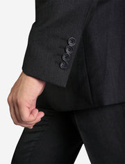 Men's Solid Charcoal Grey Slim Fit Wool Suit - Featuring 4 Sleeve Buttons