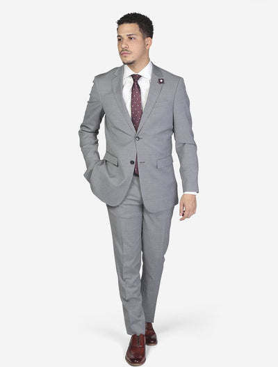 Light Grey Solid Men's Wool Slim Fit Suit-Front