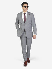 Light Grey Solid Men's Wool Slim Fit Suit