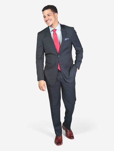 Men's Blue Check Slim Fit Suit - Front View