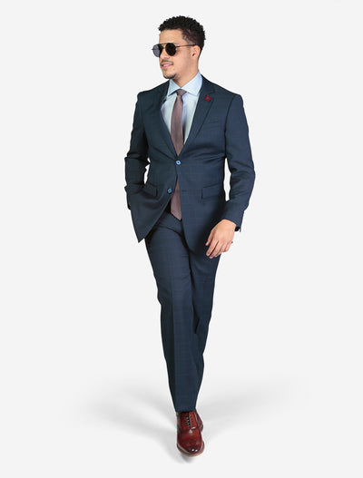 Men's Blue Windowpane Check Wool Slim Fit Suit