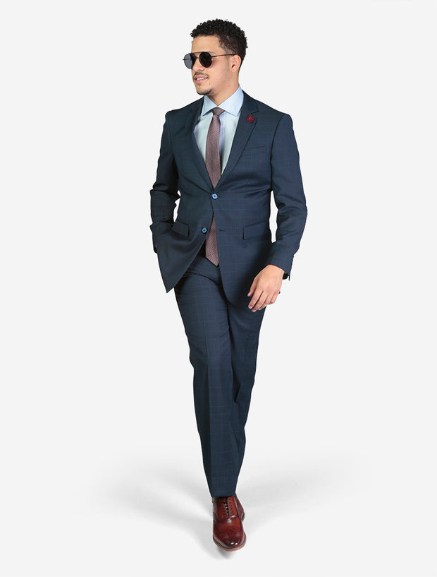 Men's Blue Windowpane Check Wool Slim Fit Suit - Model Wearing Glasses Hand In Pocket
