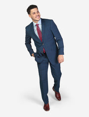Men's Blue Windowpane Check Slim Fit Wool Suit - Front View - Hand In Pocket