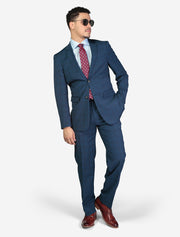 Men's Blue Windowpane Check Slim Fit Wool Suit - Model Hand In Pocket - Wearing Glasses
