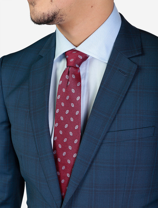 Men's Blue Windowpane Check Slim Fit Wool Suit - Featuring Notch Lapel