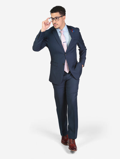 Men's Solid Navy Slim Fit Wool Suit - Model Wearing Glasses