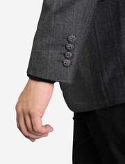 Charcoal Windowpane Check Slim Fit Sport Jacket by FUBU