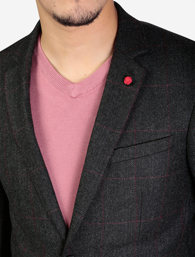 Charcoal Tweed Windowpane Slim Fit Sport Jacket by FUBU