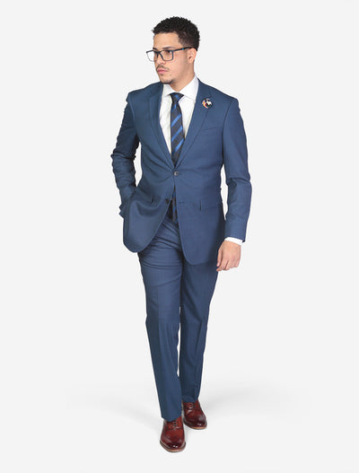 Men's Blue Solid Wool Slim Fit Suit Model Wearing Glasses