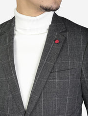 Grey Checkered Slim Fit Sport Jacket by FUBU