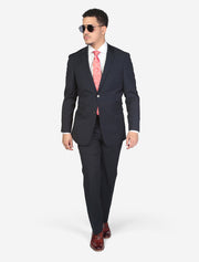 Men's Solid Blue Slim Fit Wool Suit