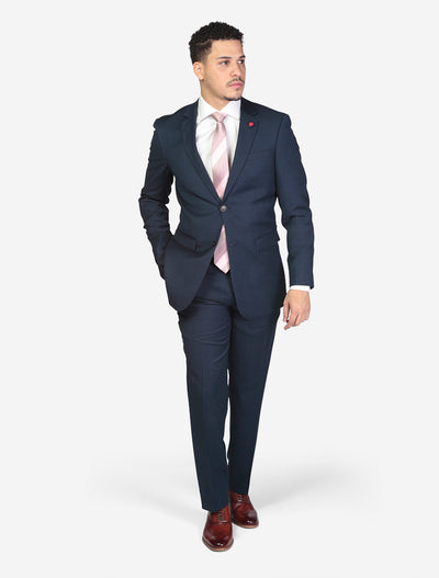 Men's Solid Navy Slim Fit Suit by FUBU Model Front View