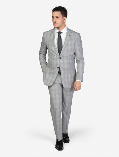 Men's Light Grey Windowpane Slim Fit Wool Suit by FUBU - Front View