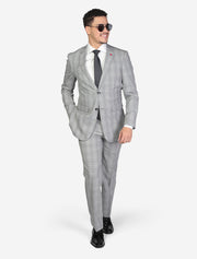 Men's Light Grey Windowpane Slim Fit Wool Suit by FUBU