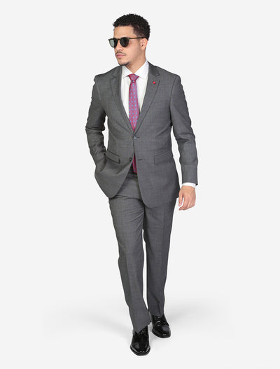 Men's Charcoal Grey Windowpane Check Slim Fit Wool Suit by FUBU Model Wearing Sunglasses