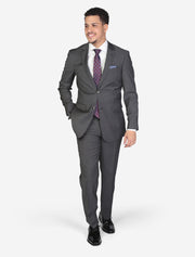 Men's Charcoal Grey Solid Wool Slim Fit Suit - Front View - Model Hand In Pocket
