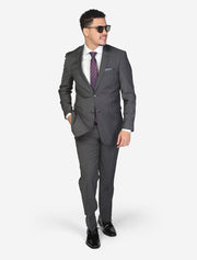 Men's Charcoal Grey Solid Wool Slim Fit Suit - Front - Model Wearing Glasses