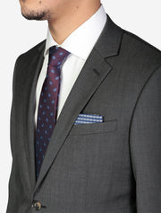 Men's Charcoal Grey Solid Wool Slim Fit Suit - Featuring Notch Lapel