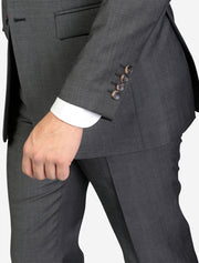 Men's Charcoal Grey Solid Wool Slim Fit Suit - Front - Featuring 4 Sleeve Buttons