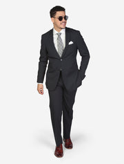 Men's Navy Pin Stripe Wool Slim Fit Suit