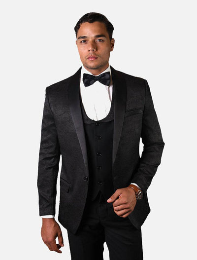 Statement Men's Black Pattern with Black Lapel Vested 100% Wool Tuxedo