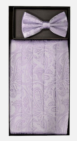 Men's Silk Paisley Lavender Cummerbund with Bow Tie