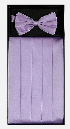 Men's Silk Lilac Cummerbund with Bow Tie