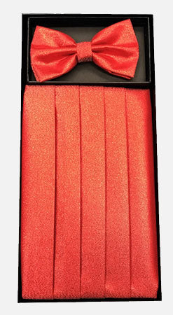 Men's Silk Metallic Red Cummerbund with Bow Tie