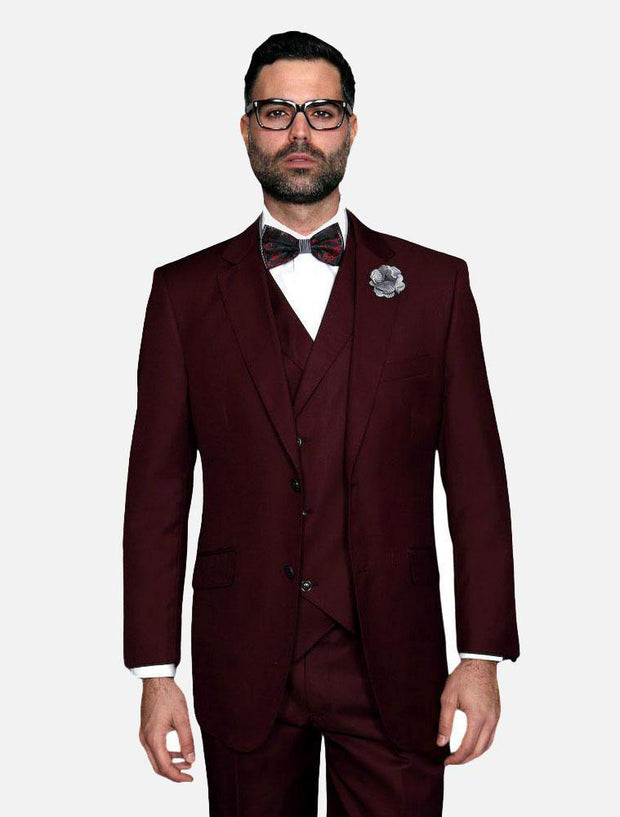 Statement Men's Solid Burgundy 100% Wool Vested Suit
