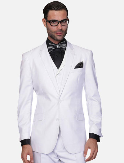 Statement Men's Solid White 100% Wool Vested Suit