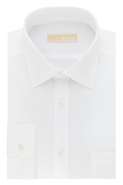Michael Kors White Non-Iron Slim Fit Broadcloth Solid Dress Shirt