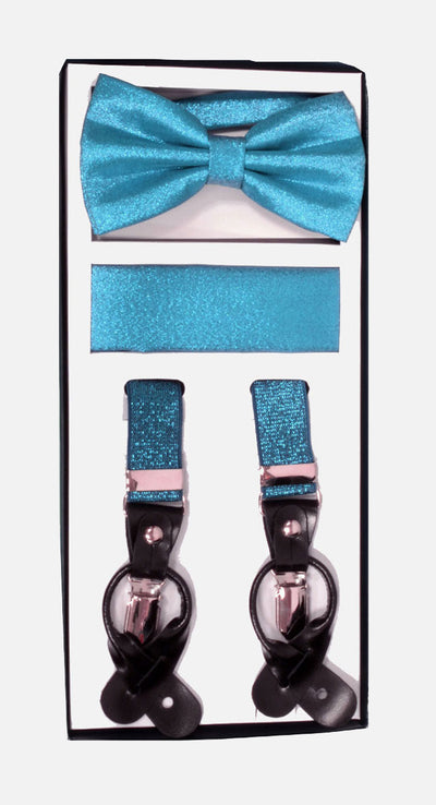 Men's Skinny Metallic Turquoise 3 Piece Suspenders Set | Elastic Button and Clip Convertible