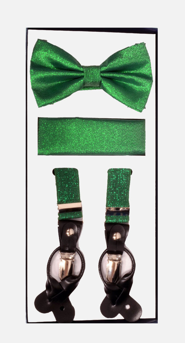 Men's Skinny Metallic Green 3 Piece Suspenders Set | Elastic Button and Clip Convertible