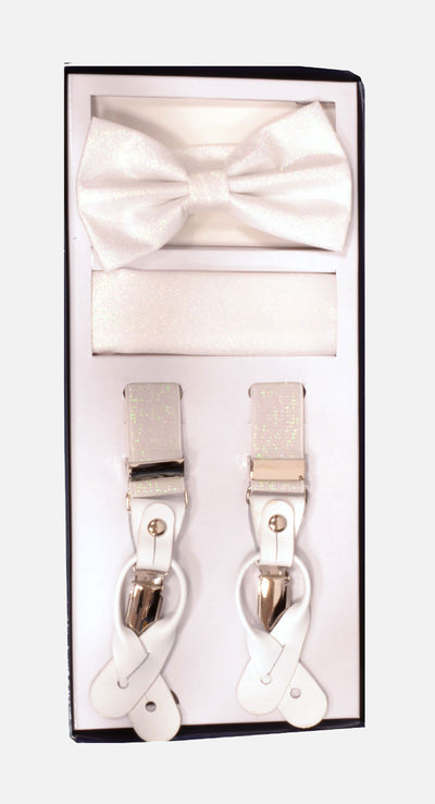 Men's Skinny Metallic Pearl 3 Piece Suspenders Set | Elastic Button and Clip Convertible