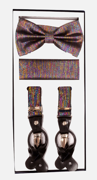 Men's Skinny Rainbow 3 Piece Suspenders Set | Elastic Button and Clip Convertible