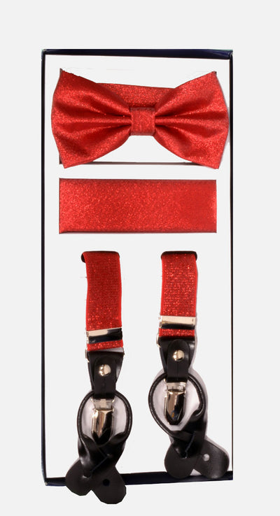 Men's Skinny Metallic Red 3 Piece Suspenders Set | Elastic Button and Clip Convertible