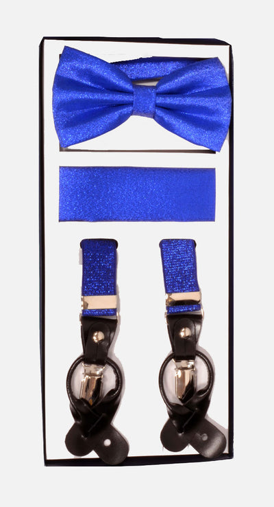 Men's Skinny Metallic Royal Blue 3 Piece Suspenders Set | Elastic Button and ClipConvertible