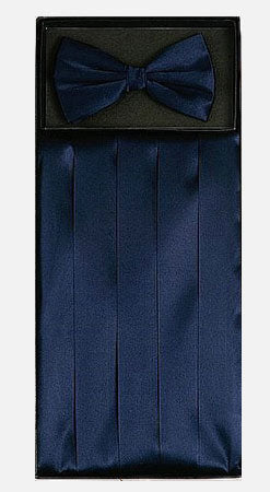 Men's Silk Navy Cummerbund with Bow Tie