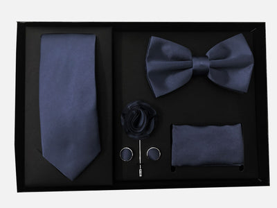 Men's Five Piece Solid Navy Gift Box